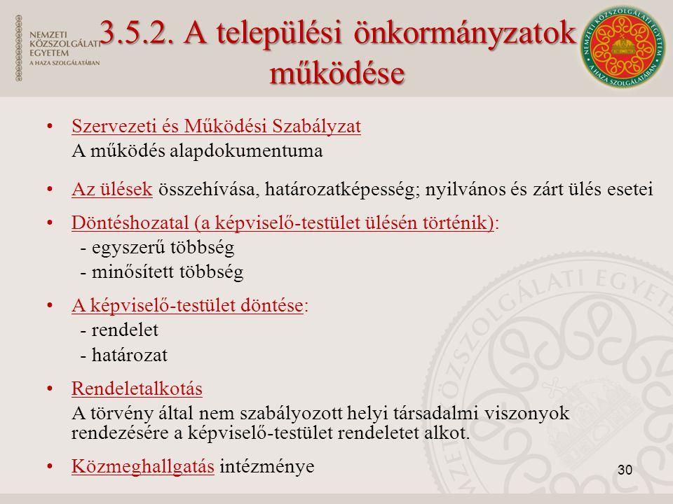 3.5.2. A települési önkormányzatok működése