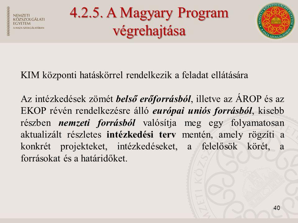 4.2.5. A Magyary Program végrehajtása