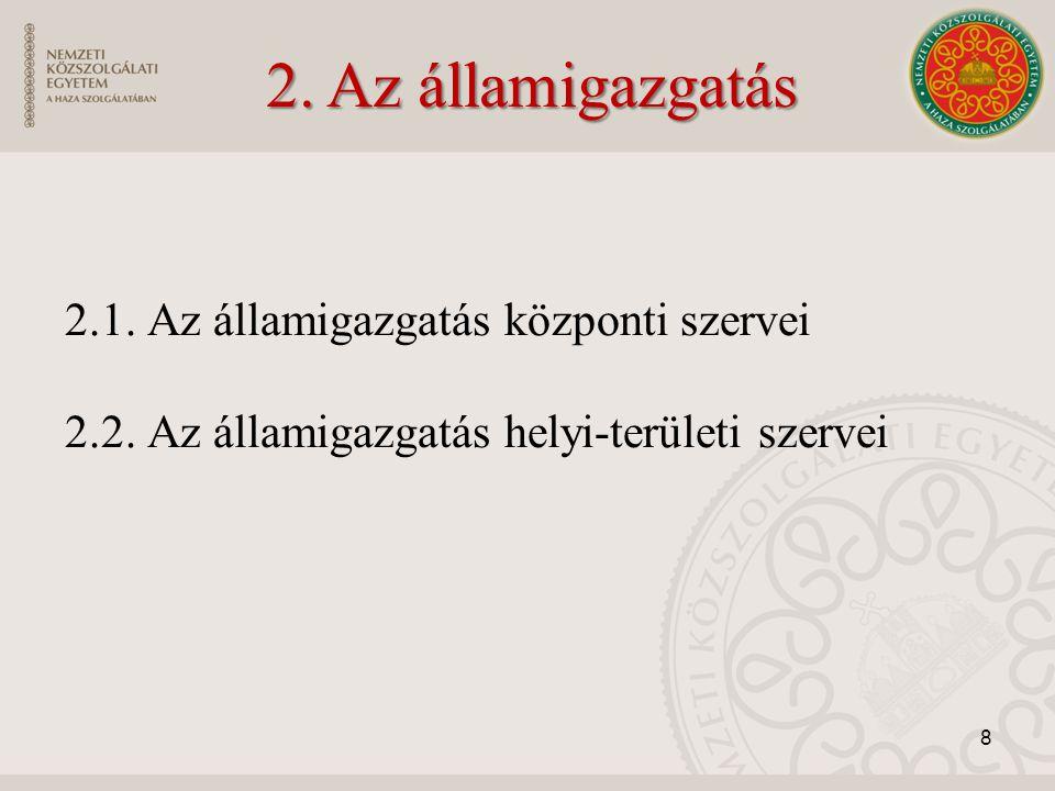 2. Az államigazgatás 2.1. Az államigazgatás központi szervei 2.2.
