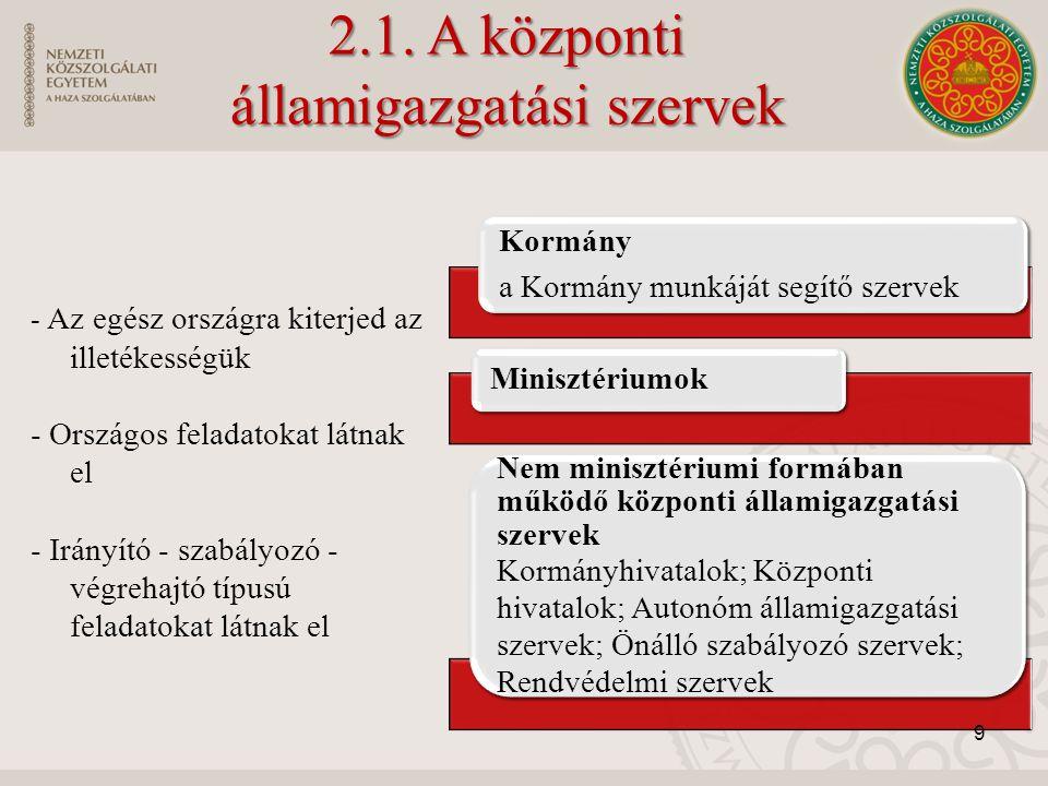 2.1. A központi államigazgatási szervek