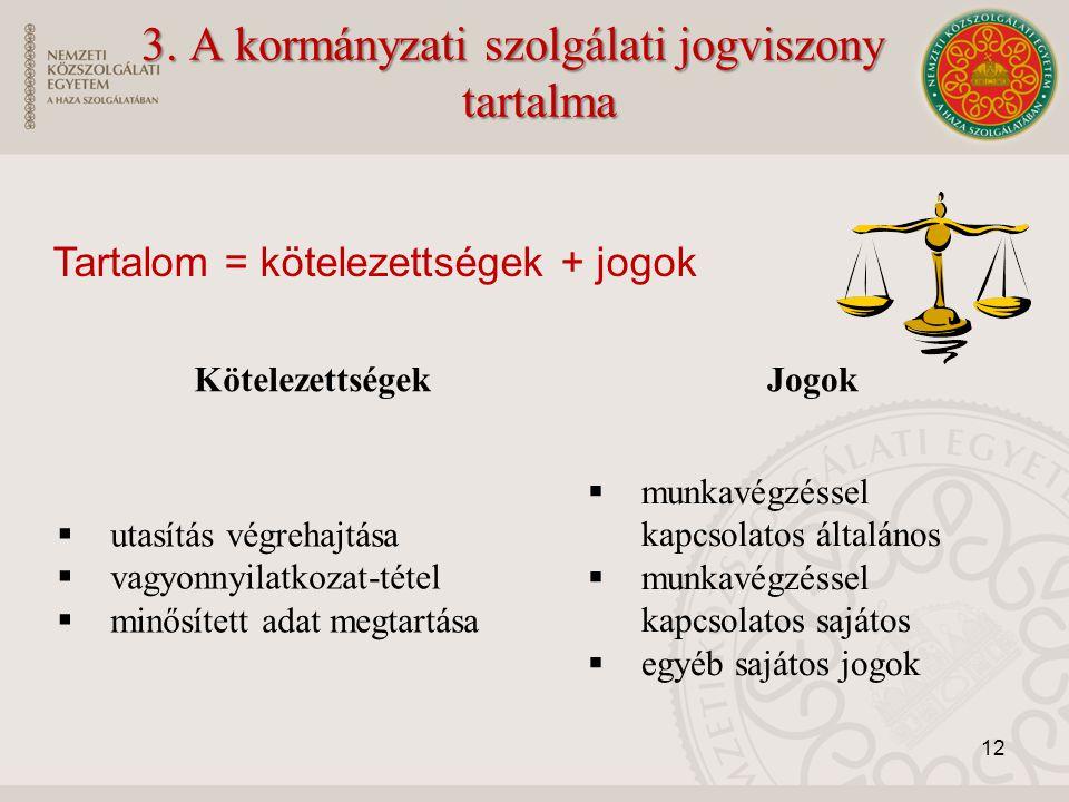 3. A kormányzati szolgálati jogviszony tartalma