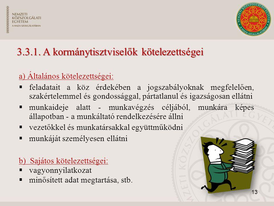 3.3.1. A kormánytisztviselők kötelezettségei