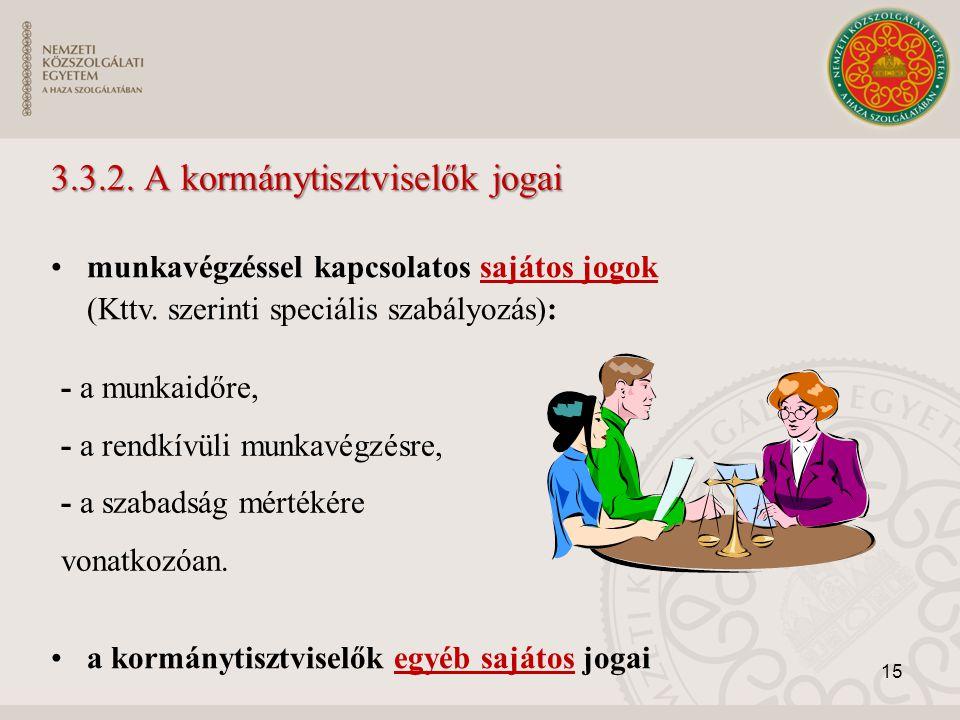 3.3.2. A kormánytisztviselők jogai