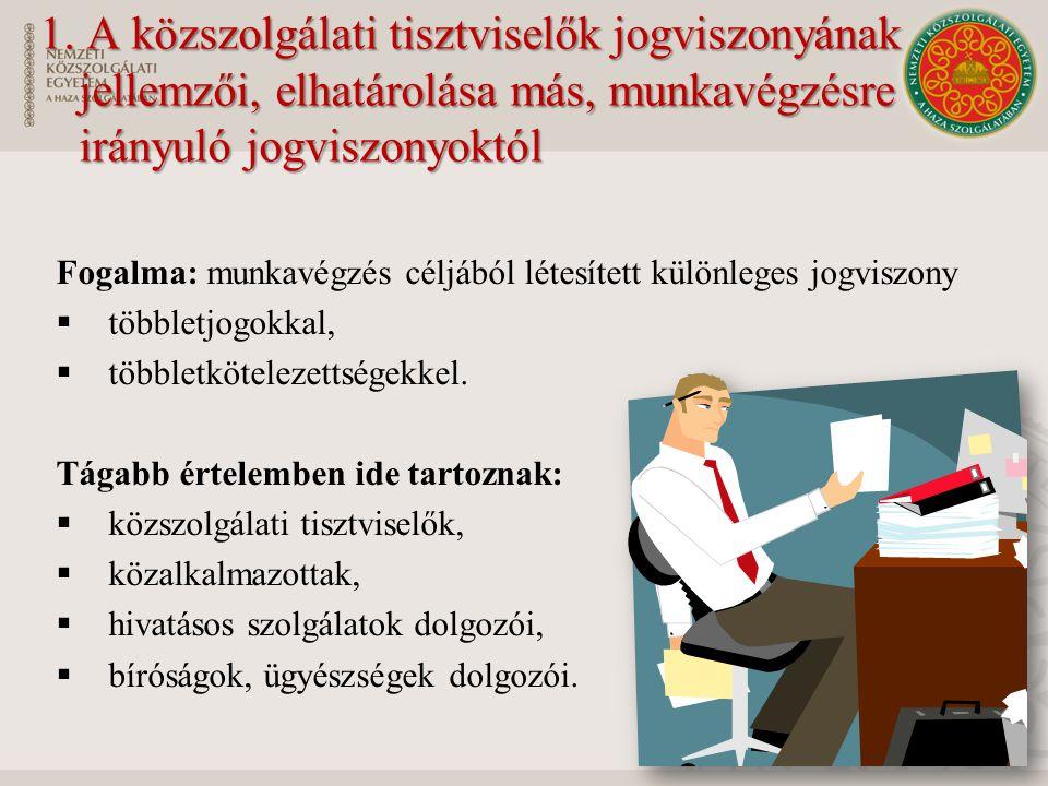 1. A közszolgálati tisztviselők jogviszonyának jellemzői, elhatárolása más, munkavégzésre irányuló jogviszonyoktól