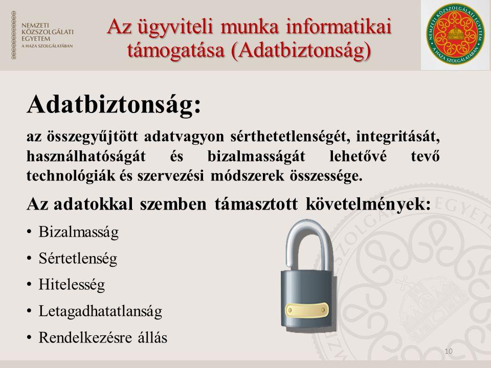 Az ügyviteli munka informatikai támogatása (Adatbiztonság)