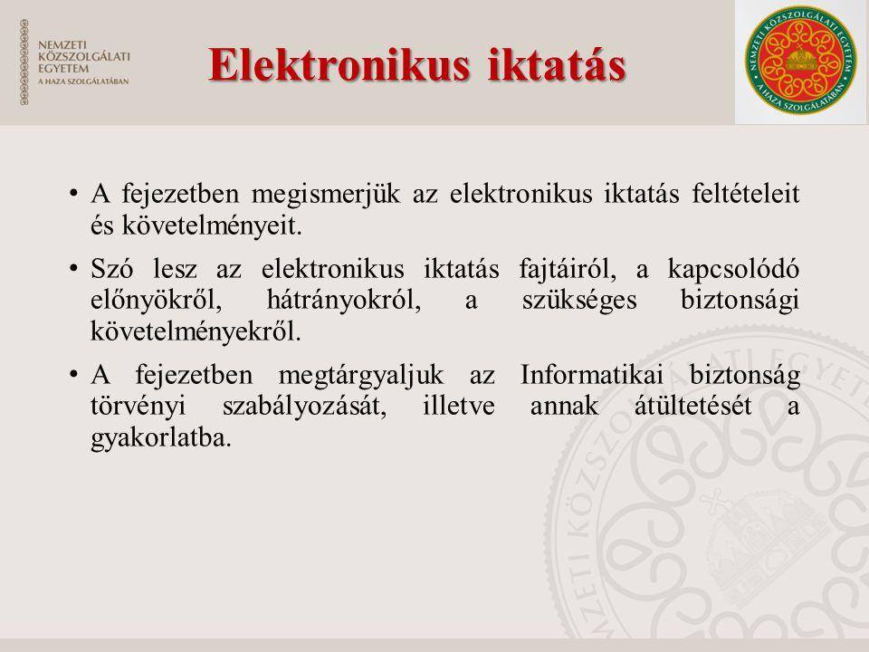 Elektronikus iktatás A fejezetben megismerjük az elektronikus iktatás feltételeit és követelményeit.