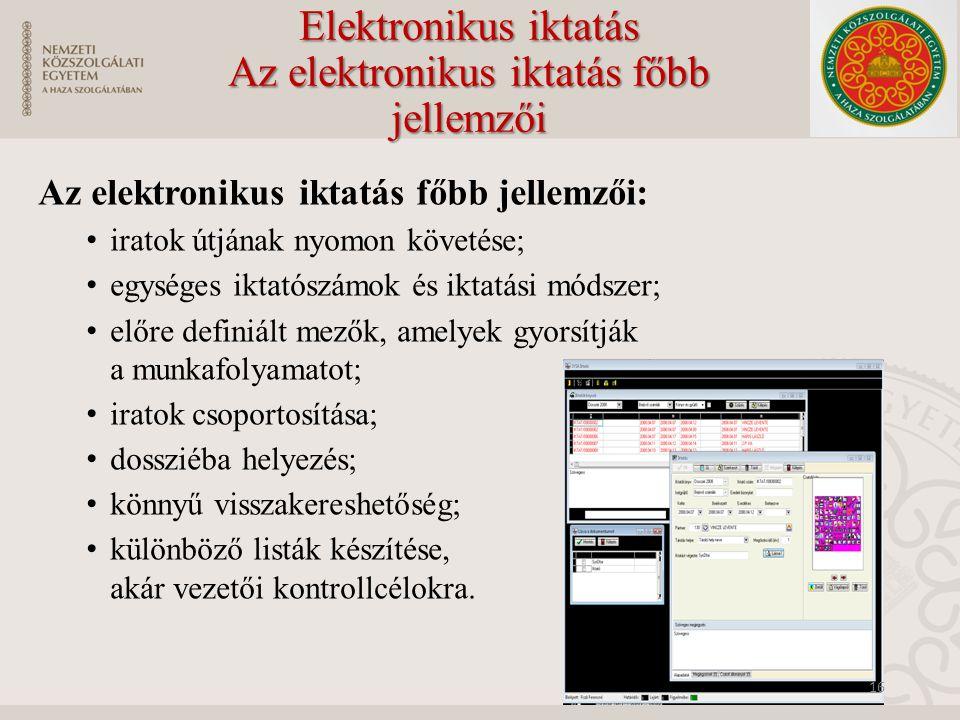 Elektronikus iktatás Az elektronikus iktatás főbb jellemzői