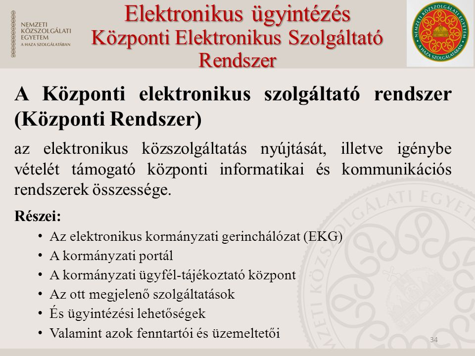 Elektronikus ügyintézés Központi Elektronikus Szolgáltató Rendszer