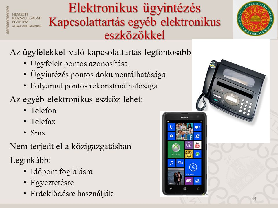 Elektronikus ügyintézés Kapcsolattartás egyéb elektronikus eszközökkel