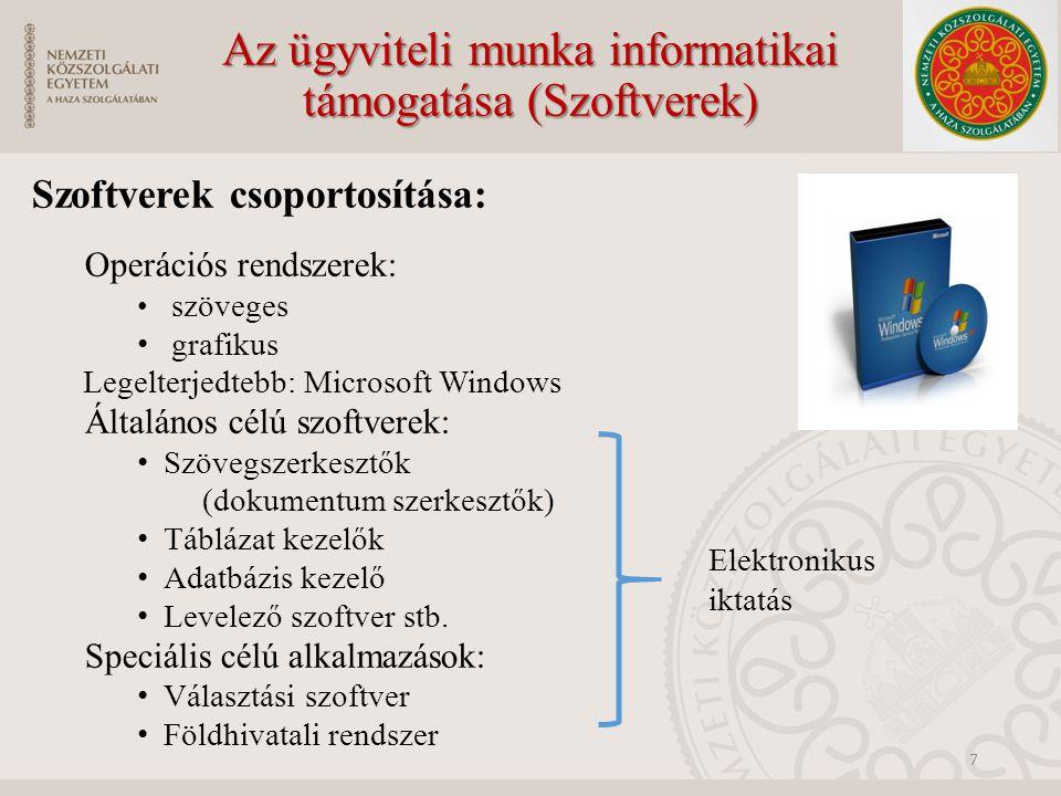 Az ügyviteli munka informatikai támogatása (Szoftverek)