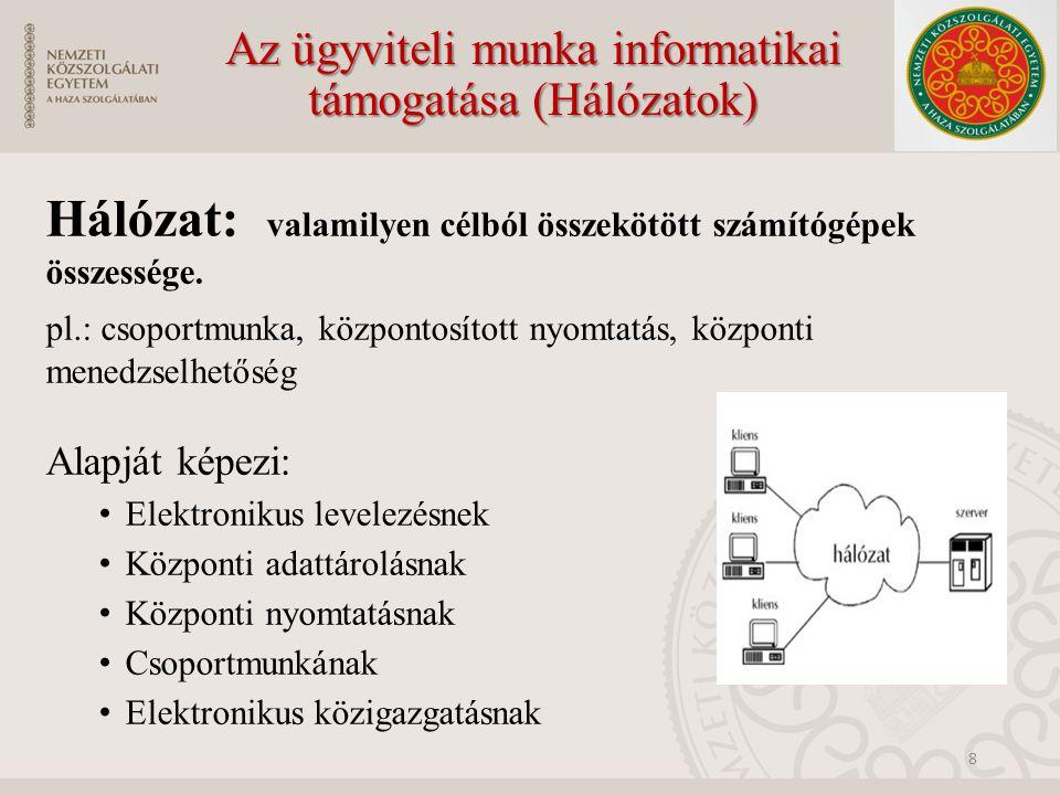 Az ügyviteli munka informatikai támogatása (Hálózatok)