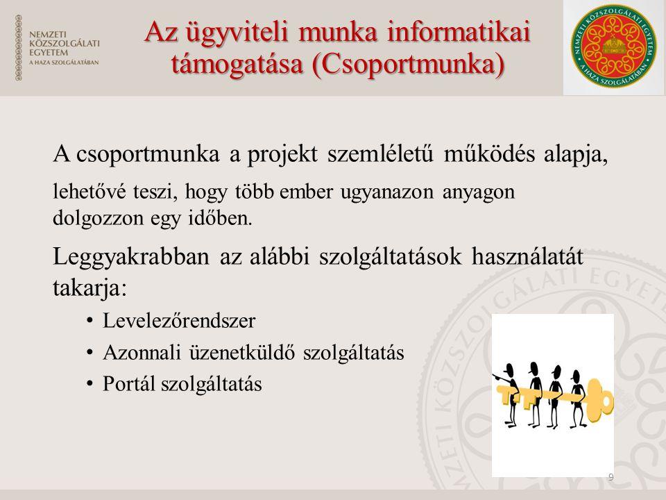 Az ügyviteli munka informatikai támogatása (Csoportmunka)