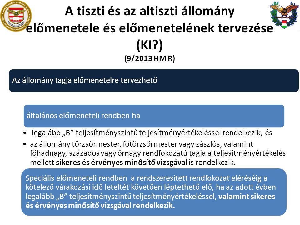A tiszti és az altiszti állomány előmenetele és előmenetelének tervezése (KI ) (9/2013 HM R)