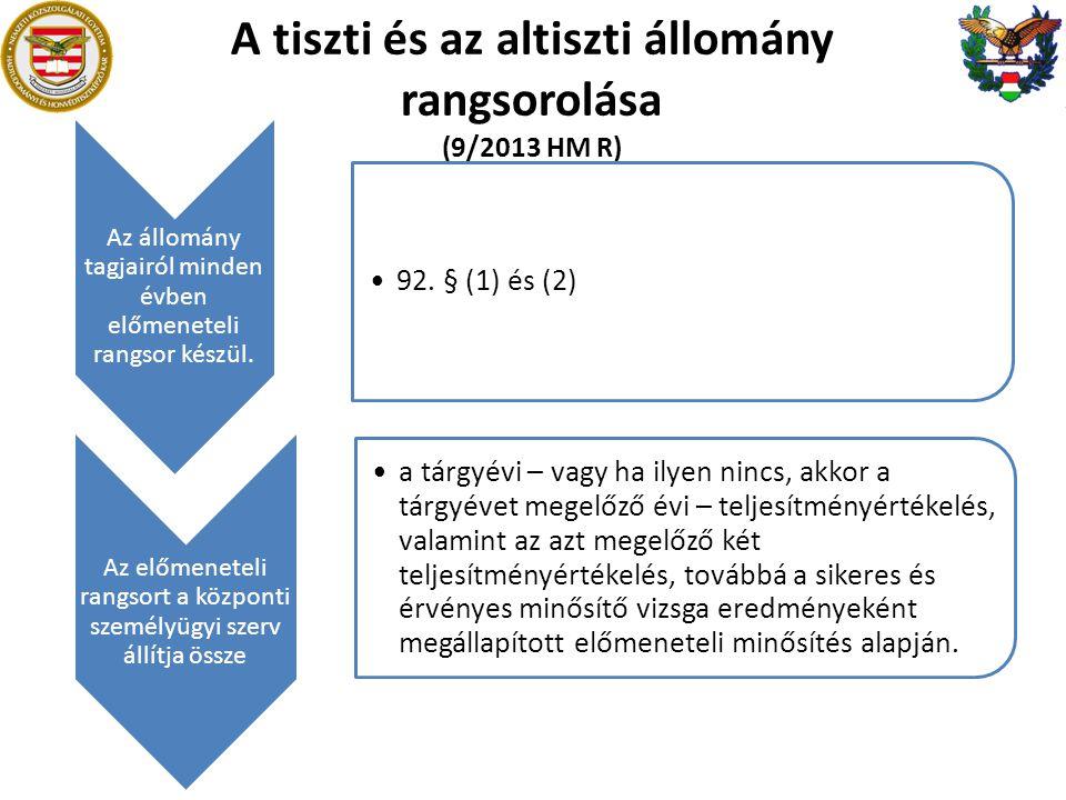 A tiszti és az altiszti állomány rangsorolása (9/2013 HM R)