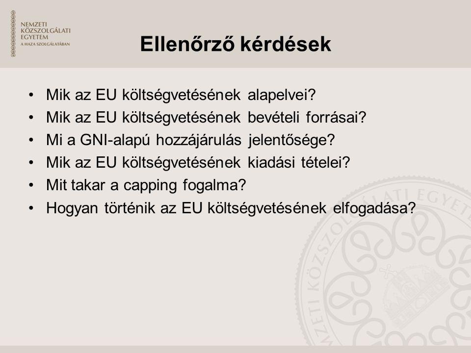 Ellenőrző kérdések Mik az EU költségvetésének alapelvei