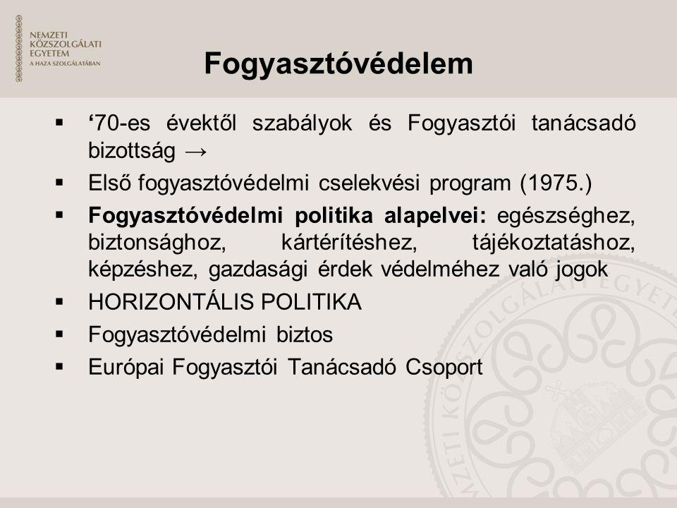 Fogyasztóvédelem '70-es évektől szabályok és Fogyasztói tanácsadó bizottság → Első fogyasztóvédelmi cselekvési program (1975.)