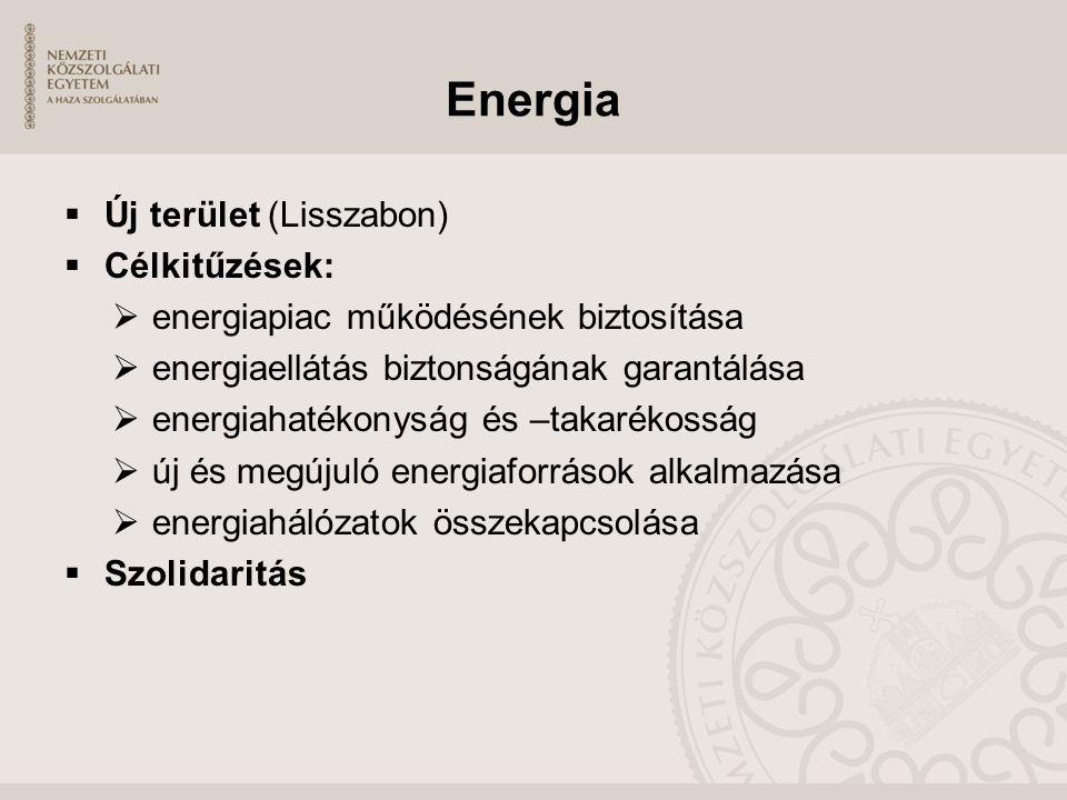 Energia Új terület (Lisszabon) Célkitűzések: