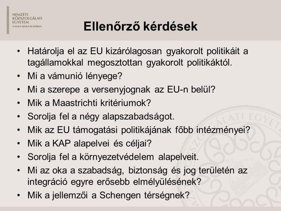 Ellenőrző kérdések Határolja el az EU kizárólagosan gyakorolt politikáit a tagállamokkal megosztottan gyakorolt politikáktól.