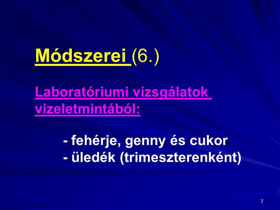Módszerei (6.) Laboratóriumi vizsgálatok vizeletmintából: