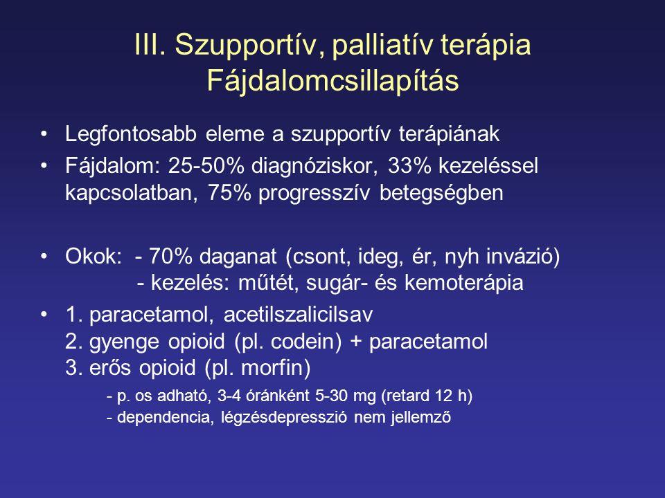 III. Szupportív, palliatív terápia Fájdalomcsillapítás