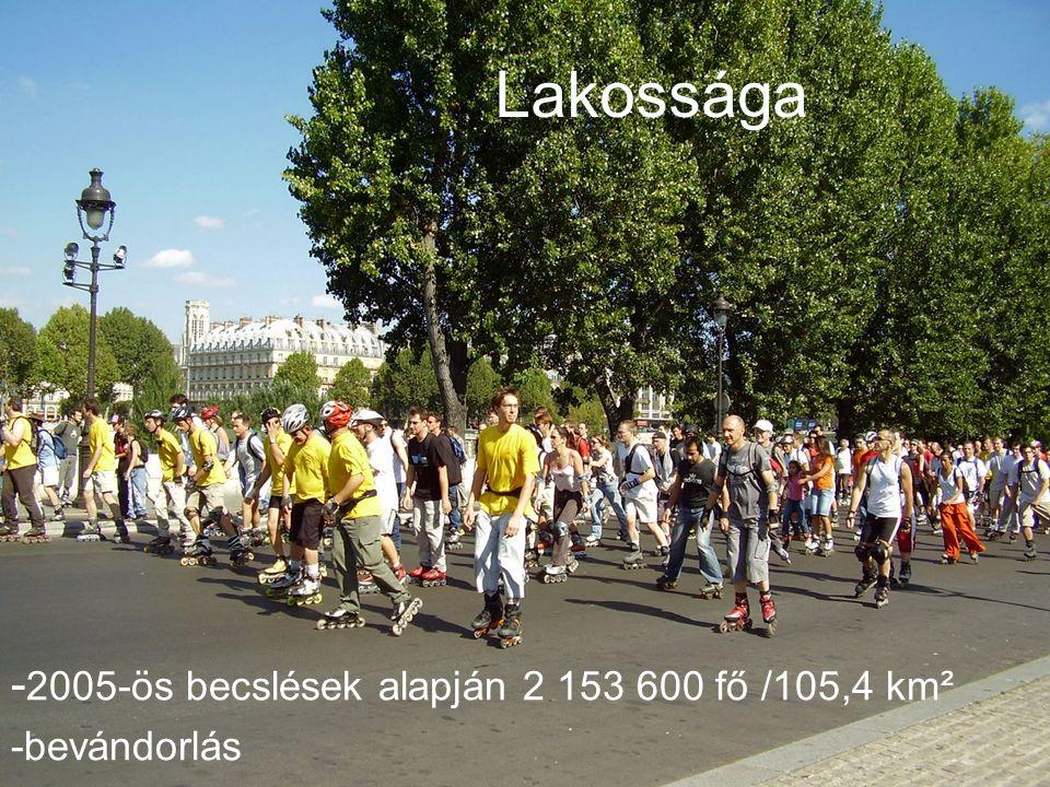 Lakossága Lakossága -2005-ös becslések alapján 2 153 600 fő /105,4 km²