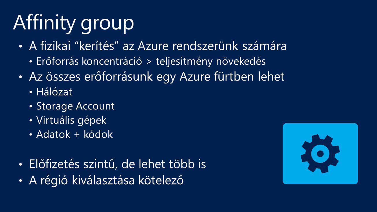 Affinity group A fizikai kerítés az Azure rendszerünk számára