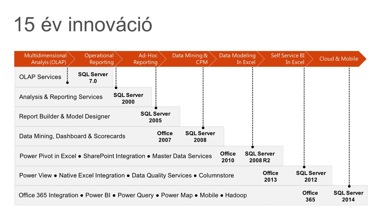 15 év innováció OLAP Services Analysis & Reporting Services
