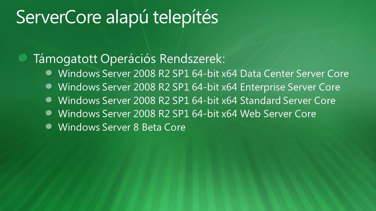 ServerCore alapú telepítés