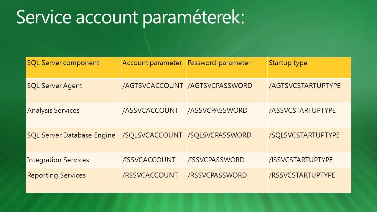 Service account paraméterek:
