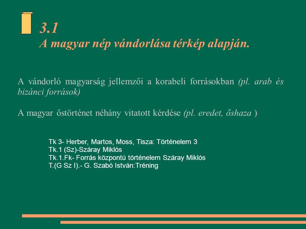 3.1 A magyar nép vándorlása térkép alapján.