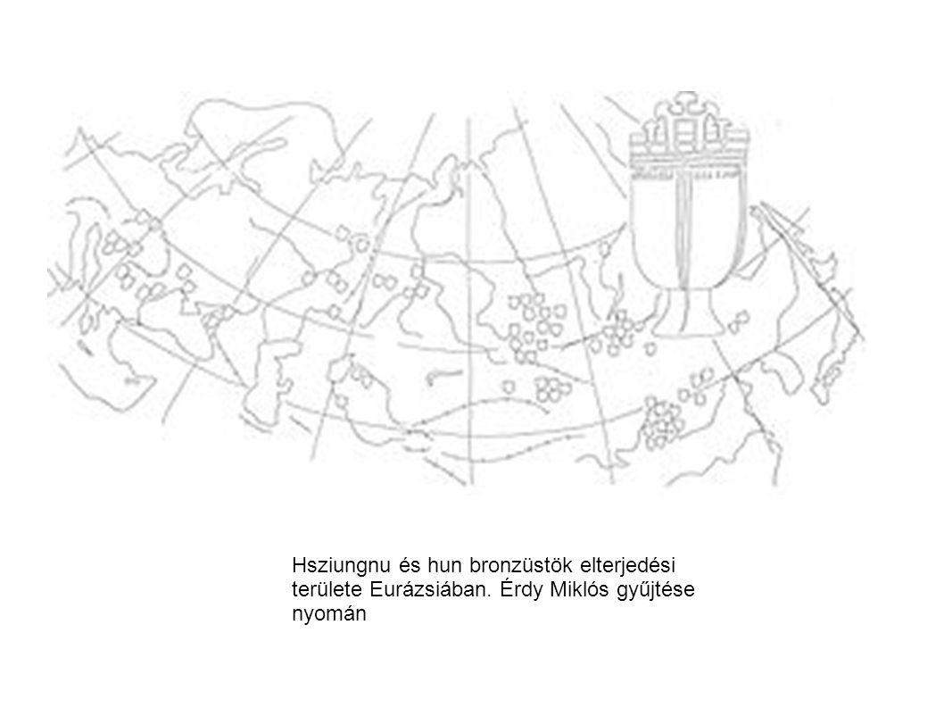 Hsziungnu és hun bronzüstök elterjedési területe Eurázsiában