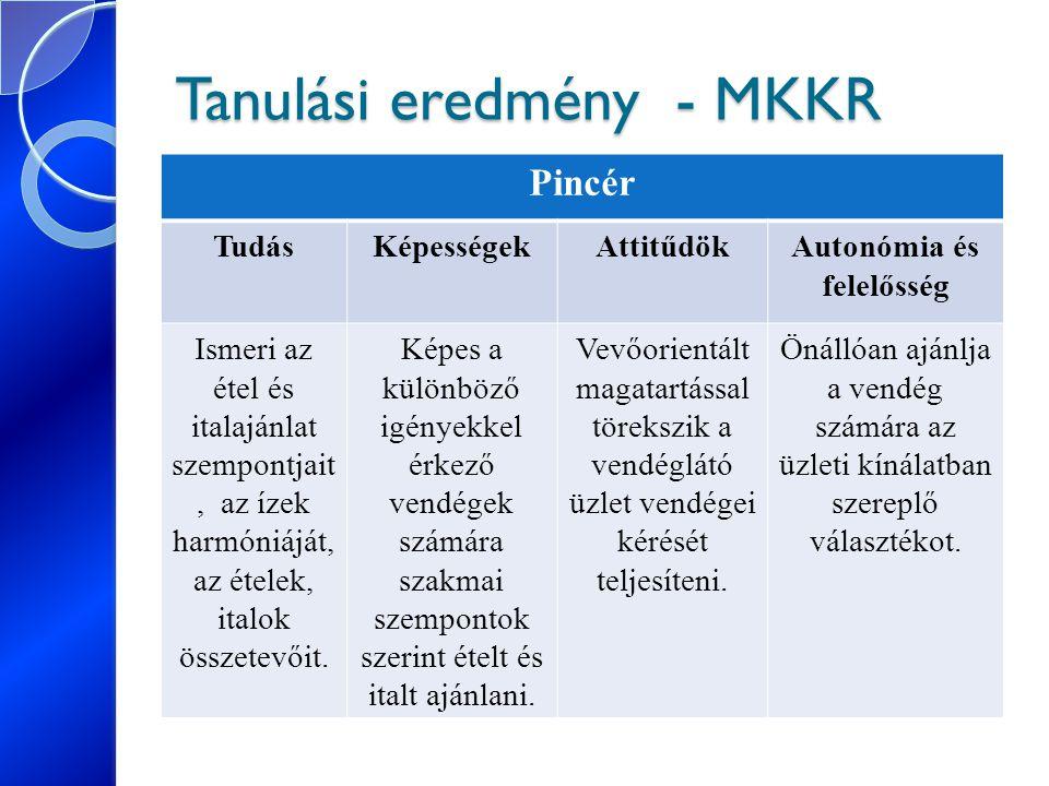 Tanulási eredmény - MKKR