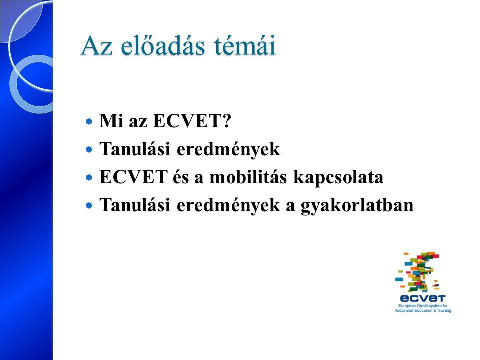 Az előadás témái Mi az ECVET Tanulási eredmények