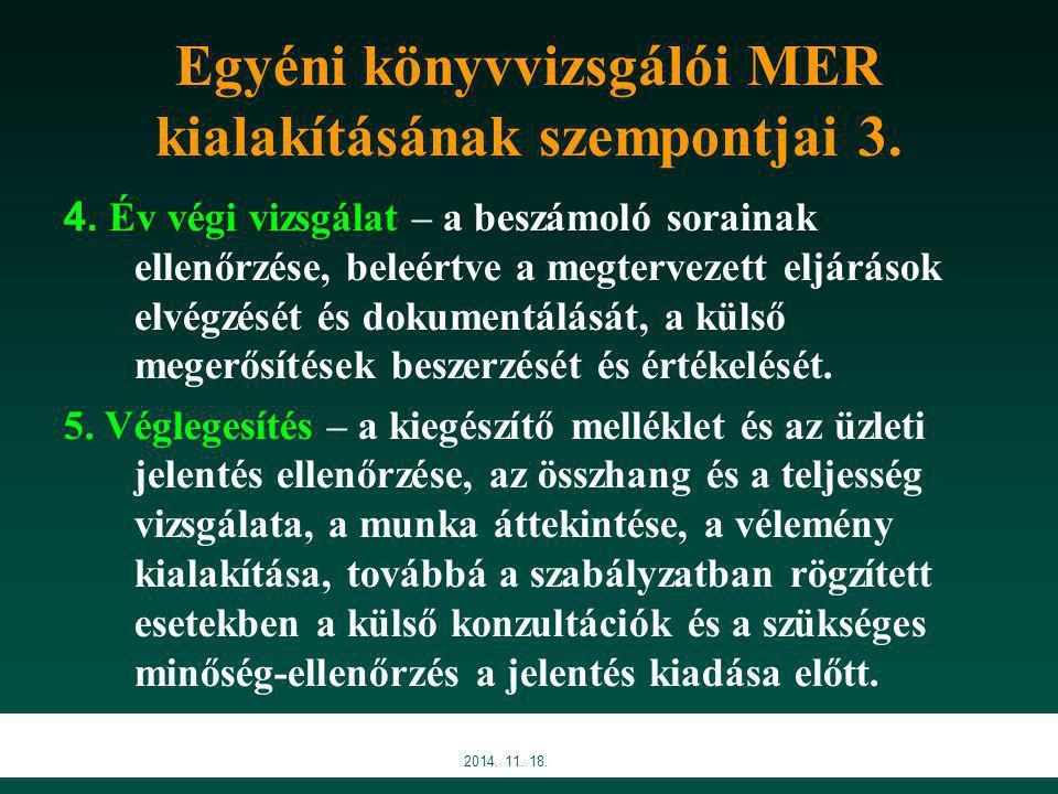 Egyéni könyvvizsgálói MER kialakításának szempontjai 3.