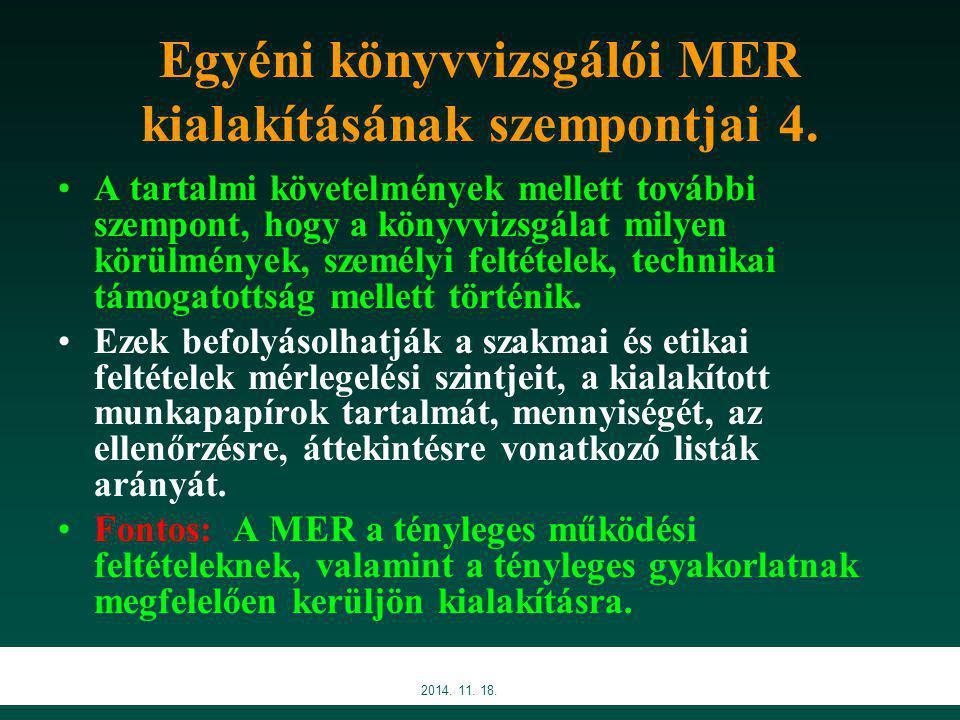 Egyéni könyvvizsgálói MER kialakításának szempontjai 4.