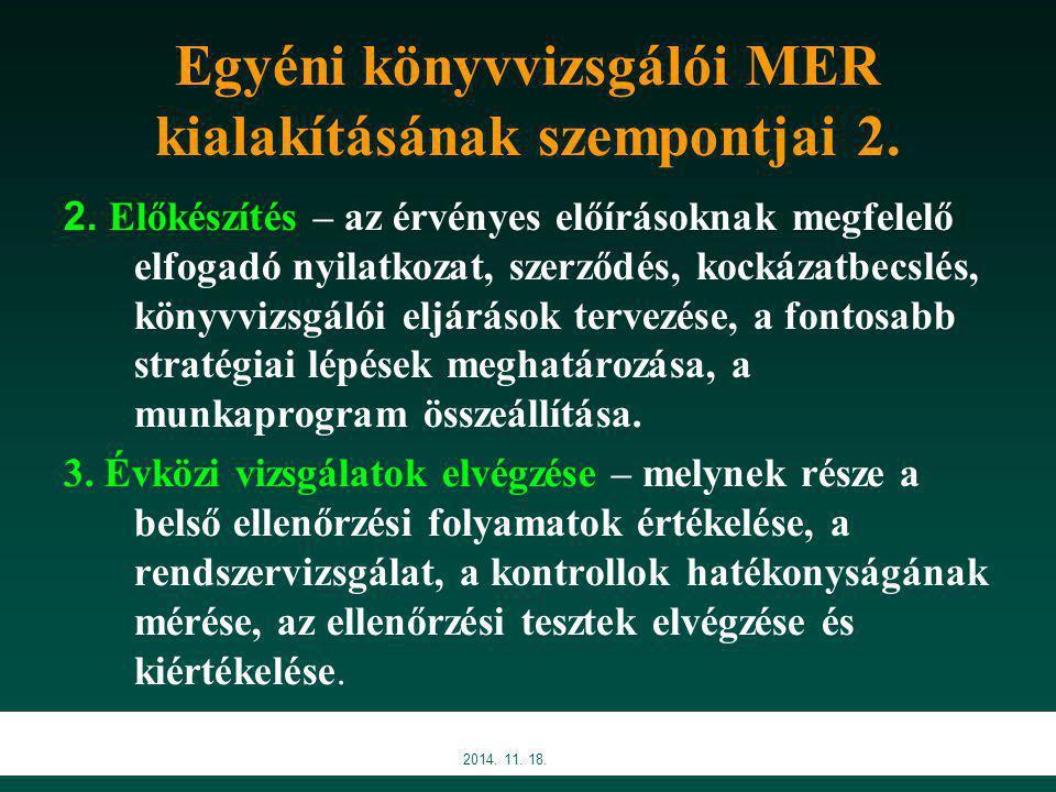 Egyéni könyvvizsgálói MER kialakításának szempontjai 2.