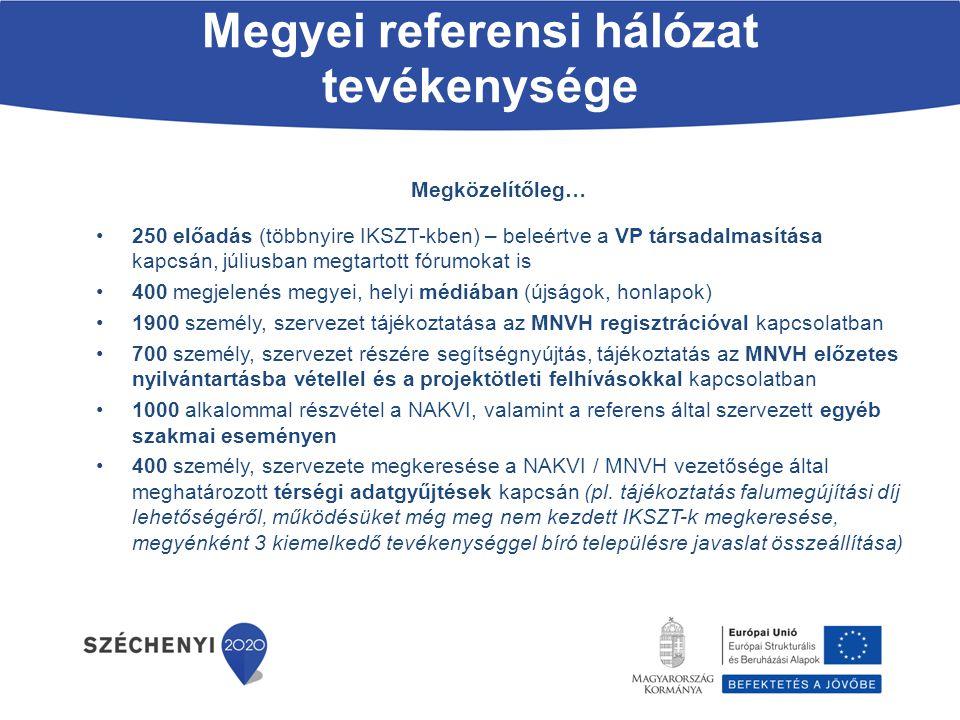 Megyei referensi hálózat tevékenysége