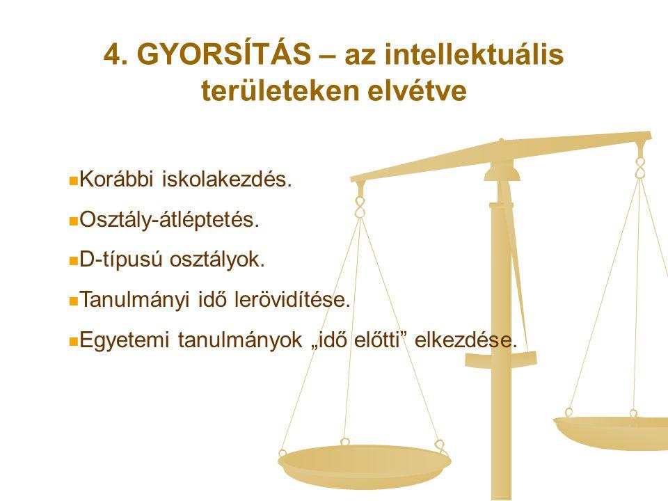 4. GYORSÍTÁS – az intellektuális területeken elvétve