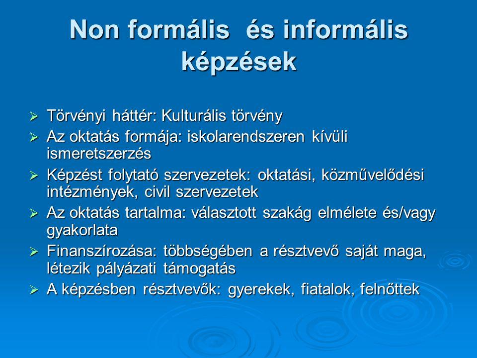 Non formális és informális képzések