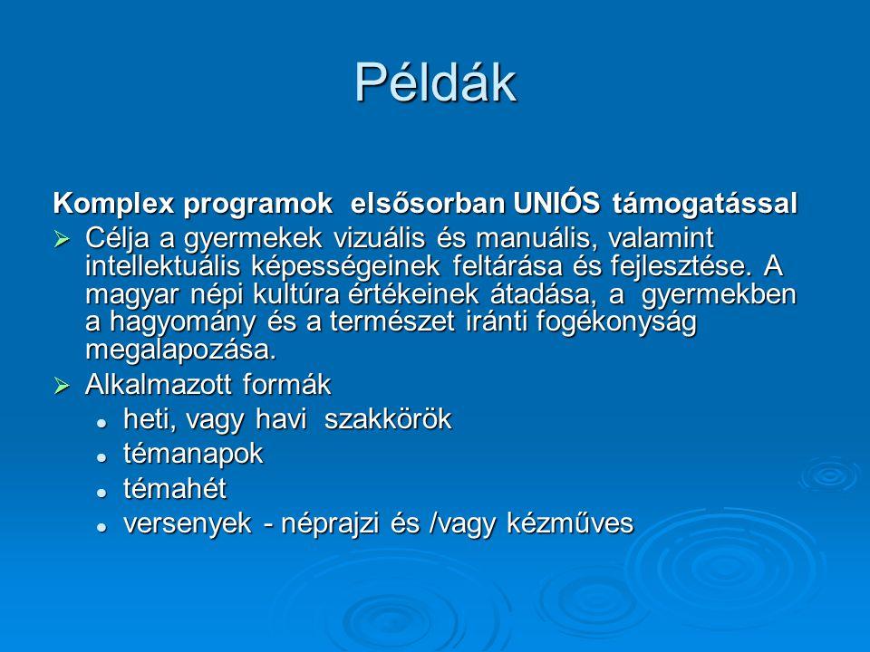 Példák Komplex programok elsősorban UNIÓS támogatással