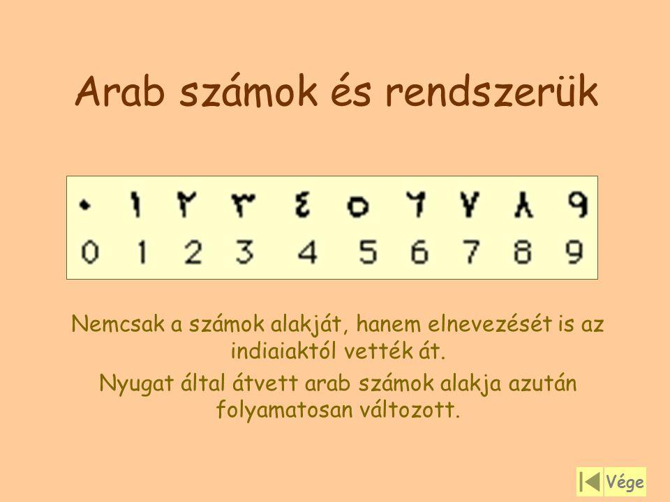 Arab számok és rendszerük