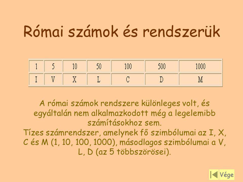 Római számok és rendszerük