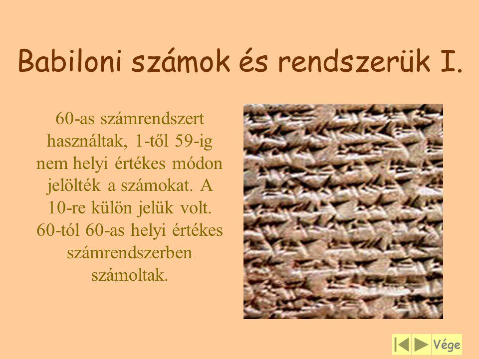 Babiloni számok és rendszerük I.