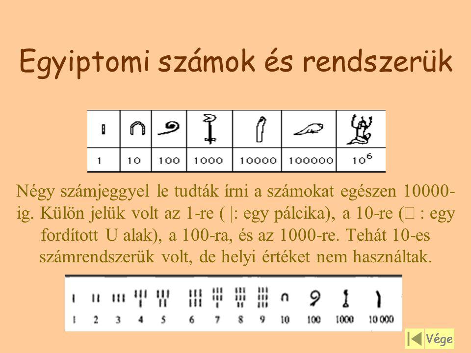 Egyiptomi számok és rendszerük