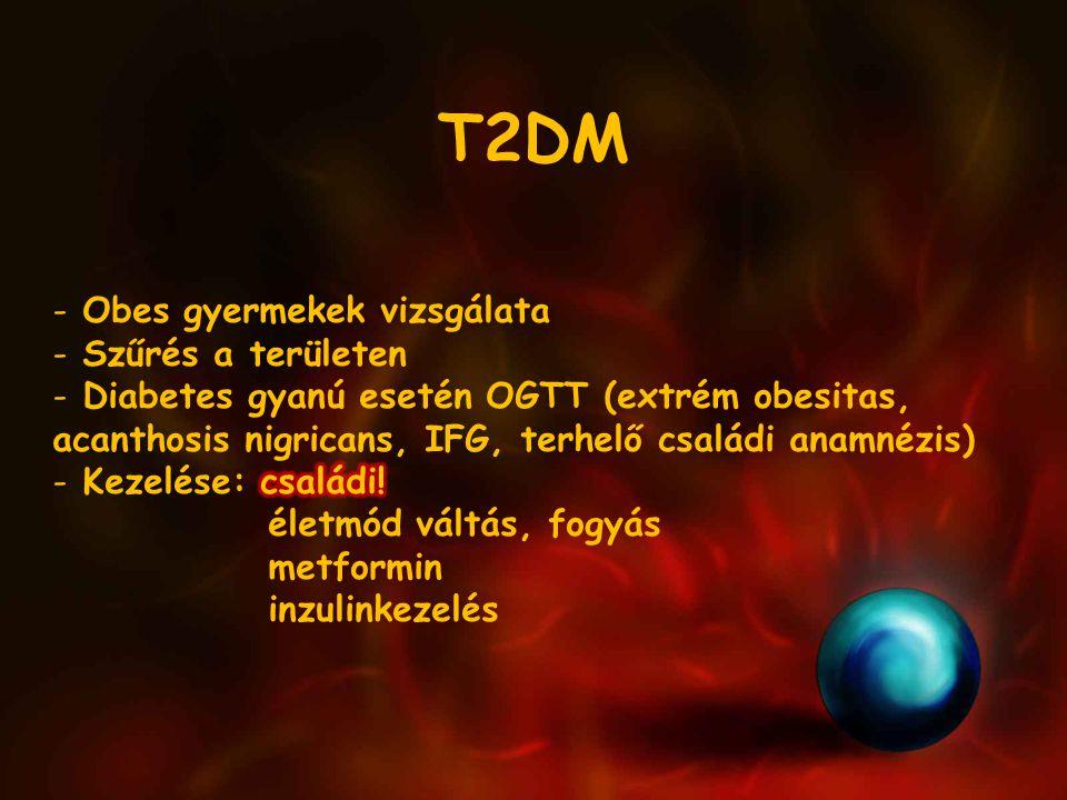 T2DM Obes gyermekek vizsgálata Szűrés a területen