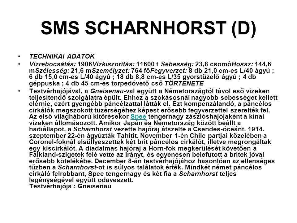 SMS SCHARNHORST (D) TECHNIKAI ADATOK