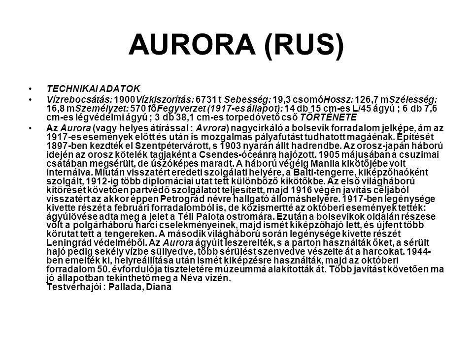 AURORA (RUS) TECHNIKAI ADATOK