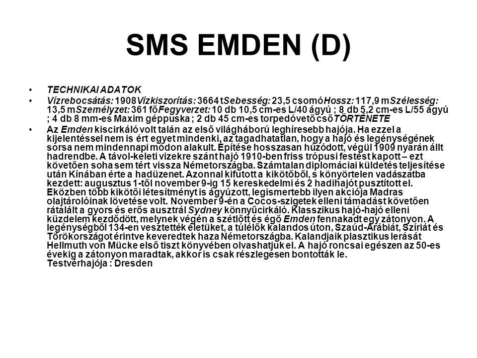 SMS EMDEN (D) TECHNIKAI ADATOK