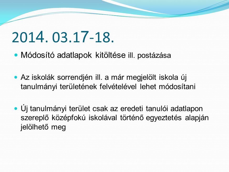 2014. 03.17-18. Módosító adatlapok kitöltése ill. postázása