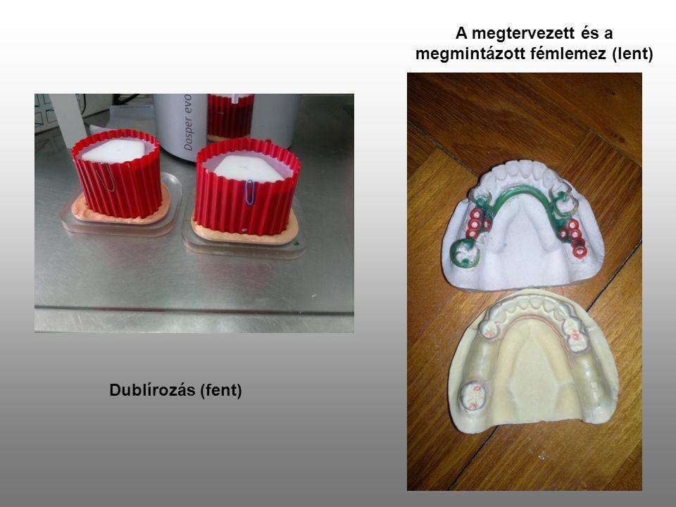 A megtervezett és a megmintázott fémlemez (lent)